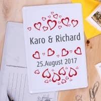 Blechpostkarte mit Namen, Datum und Herzchen