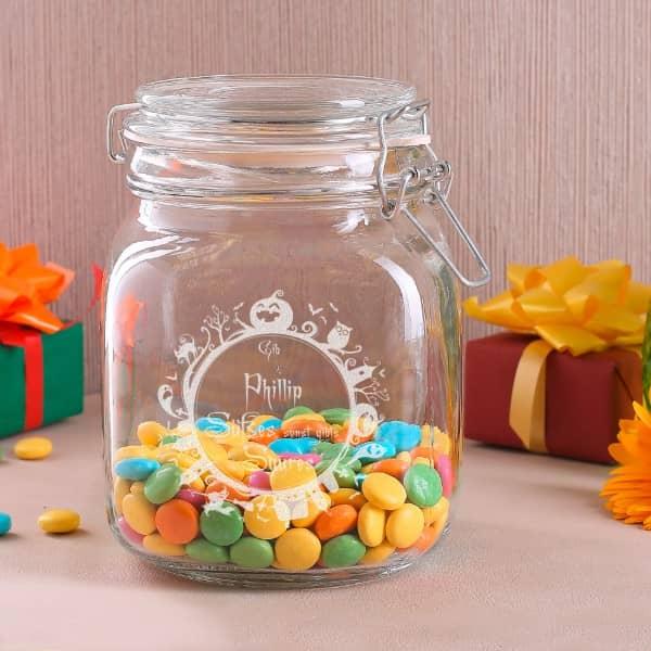Vorratsdose für Süßigkeiten mit Wunschnamen und Halloween Motiv