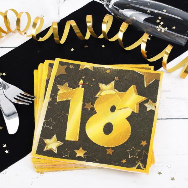 20 Servietten zum 18. Geburtstag - Star