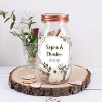 Gästebuch zur Hochzeit mit 120 Holzherzen im Schraubglas
