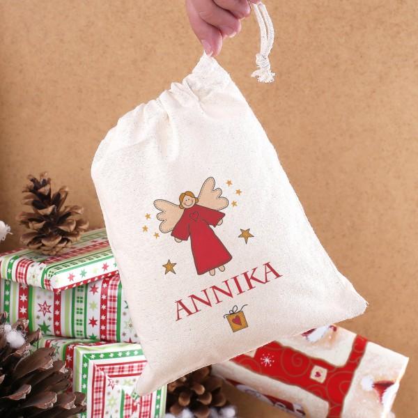 kleiner geschenkesack f r weihnachten mit engel und name. Black Bedroom Furniture Sets. Home Design Ideas