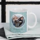 Fototasse zu Weihnachten mit Schneeflocken