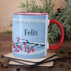 Tasse mit Winterlandschaft und Name
