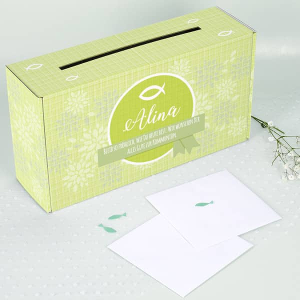 Bedruckte Briefbox zur Kommunion mit Wunschname