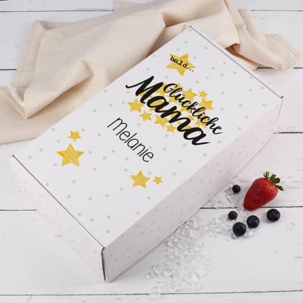 Geschenkbox - bald Glückliche Mama - für Schwangere mit Name bedruckt
