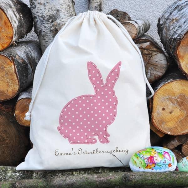 Oster Geschenksack mit Hase und Wunschtext