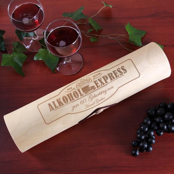 Flaschenverpackung Holzrolle Alkohol-Express mit Wunschname und Alter