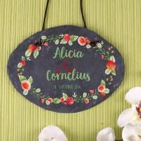 Schiefertafel zur Hochzeit mit Blumen in Aquarell-Optik, Namen und Datum