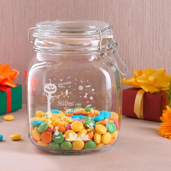 Glasdose Süßes oder Saures mit Gravur zu Halloween