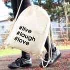 Rucksack aus Baumwolle mit Ihren Hashtags bedruckt