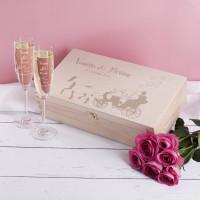 Hochzeitsset Box mit Sektgläsern mit Hochzeitskutsche