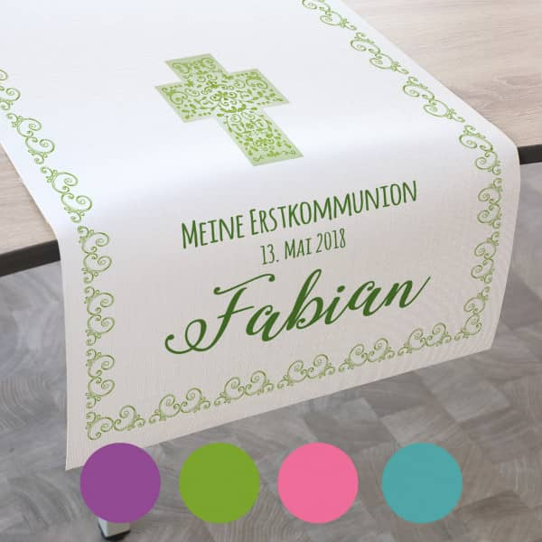Tischläufer zur Kommunion, Konfirmation oder Taufe, in 4 Farben und 2 Größen ...