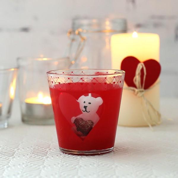 rotes Teelicht mit Bärchenkerze