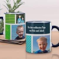 Foto-Tasse mit 3 Bildern und Wunschtext