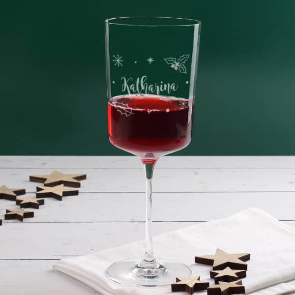 Graviertes Leonardo Weinglas zu Weihnachten