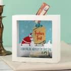 Frohes Fest - Bilderrahmen Spardose mit Weihnachtsmann und Wunschtext