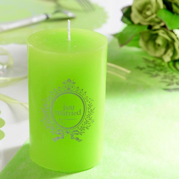 Kerze zur Hochzeit in Grün Just Married
