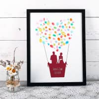Bilderrahmen Heißluftballon für Fingerabdrücke zur Hochzeit
