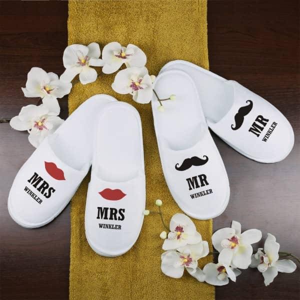 Frottee Slipper Hausschuhe Pantoffeln Mr Und Mrs Mit