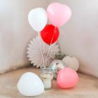 5 Herzballons in weiß, rosa und rot