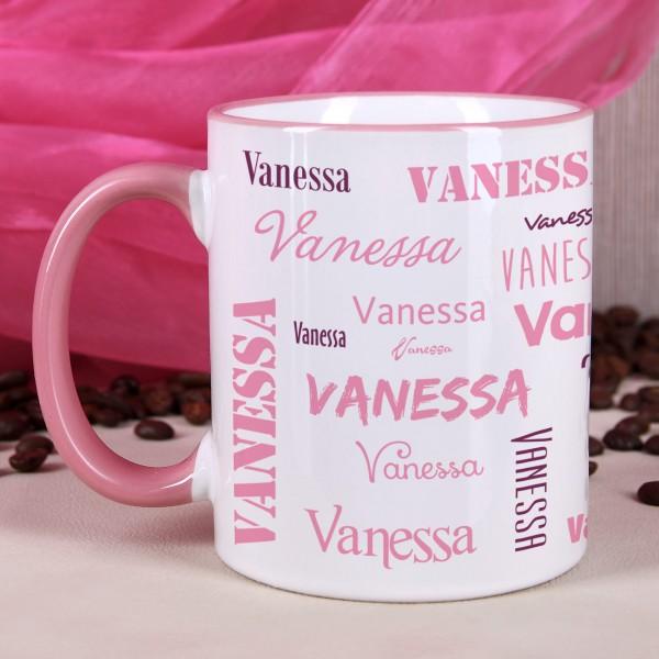 Tasse mit Ihrem Namen in verschiedenen Schriftarten - rosa