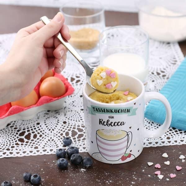Tasse mit Rezept für Tassenkuchen bedruckt mit Name