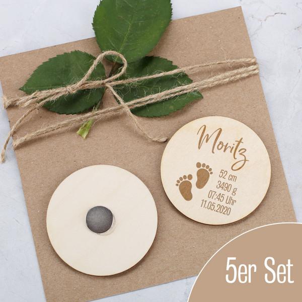 5er Set runde Magnete mit Geburtsangaben