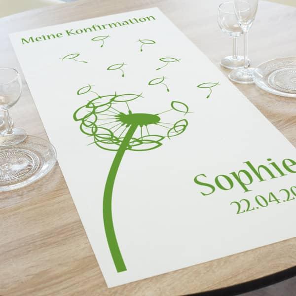 - Tischläufer in zwei Längen zur Konfirmation, Kommunion oder Taufe mit Name, D... - Onlineshop Geschenke online.de
