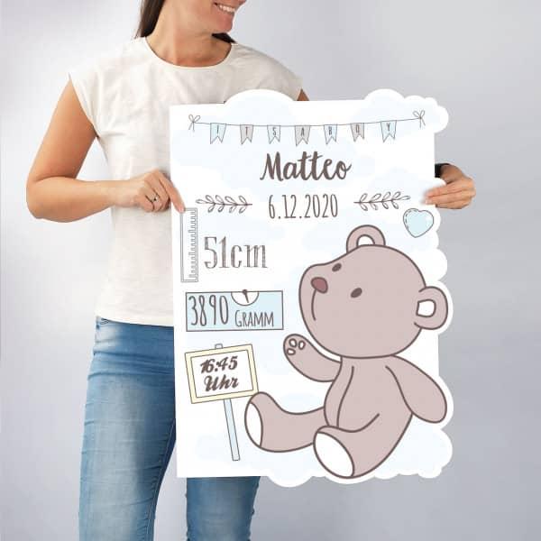 große Glückwunschkarte zur Geburt eines Jungen mit allen wichtigen Angaben wie Gewicht, Größe, Uhrzeitusw.