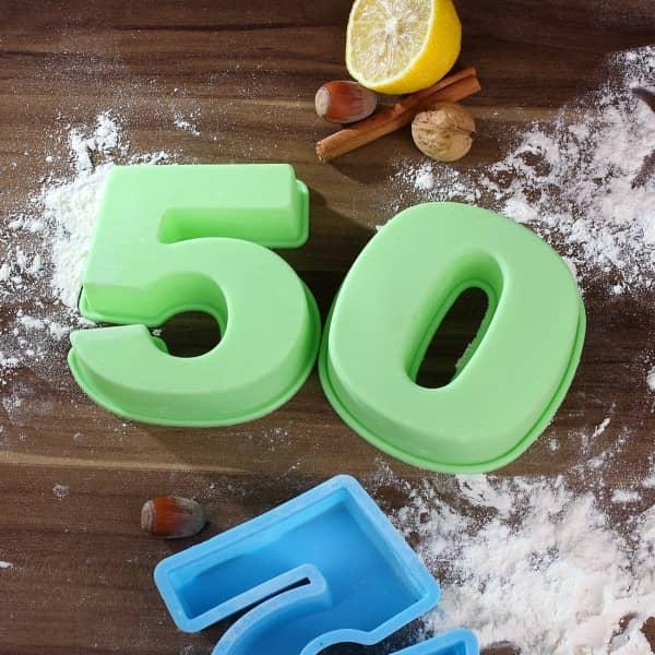 Geschenk zum 50. Geburtstag, Backform in grün