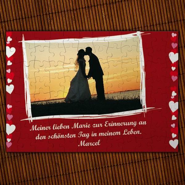 Puzzle für Verliebte mit Foto und Textfeld