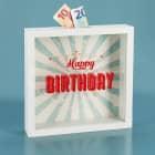 Bilderrahmen-Spardose - Happy Birthday