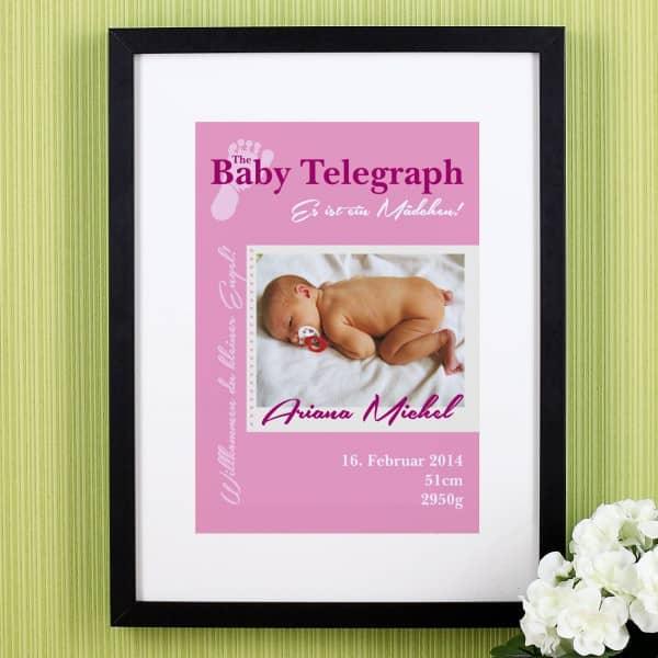 Wandbild Baby Telegraph Es ist ein Mädchen