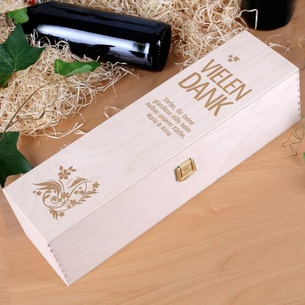 Weinverpackung aus Holz mit Gravur - Vielen Dank