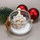 Kerze Tannenzapfen im Glas creme