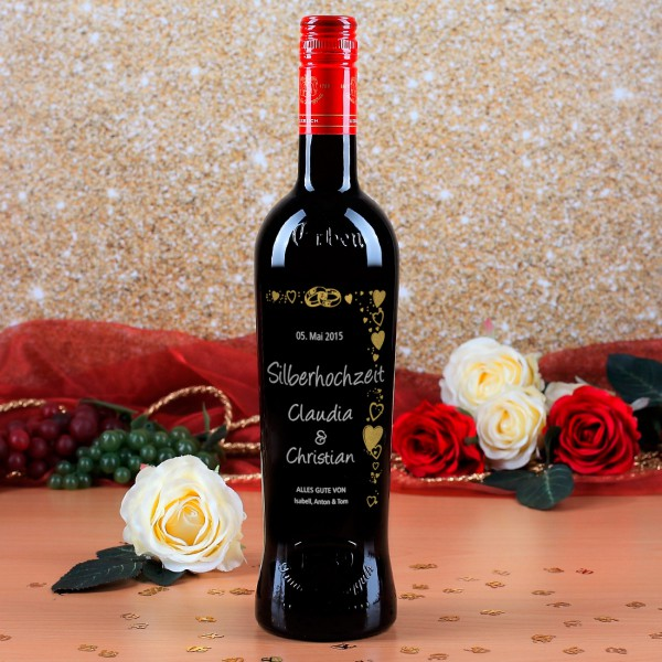Weinflasche mit persönlicher Gravur zur Silberhochzeit