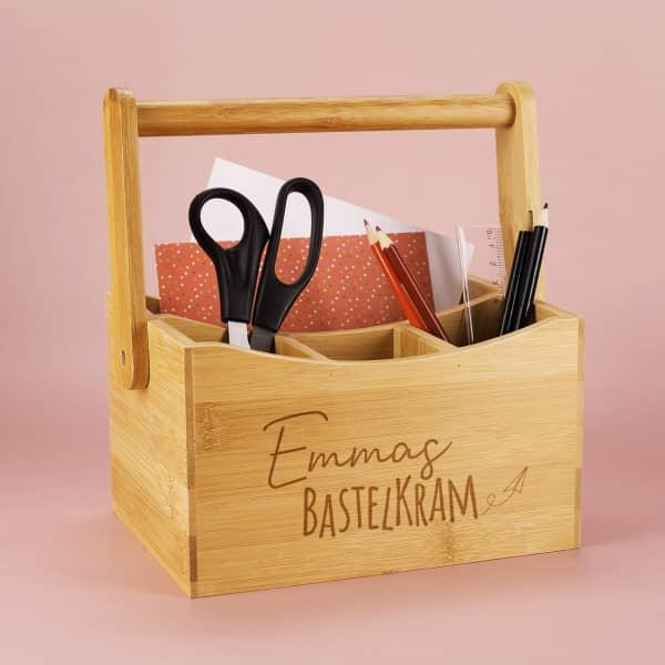 Bastelkram Bambusbox für Stifte und vieles mehr
