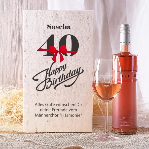 Weinset in Holzbox zum 40. Geburtstag