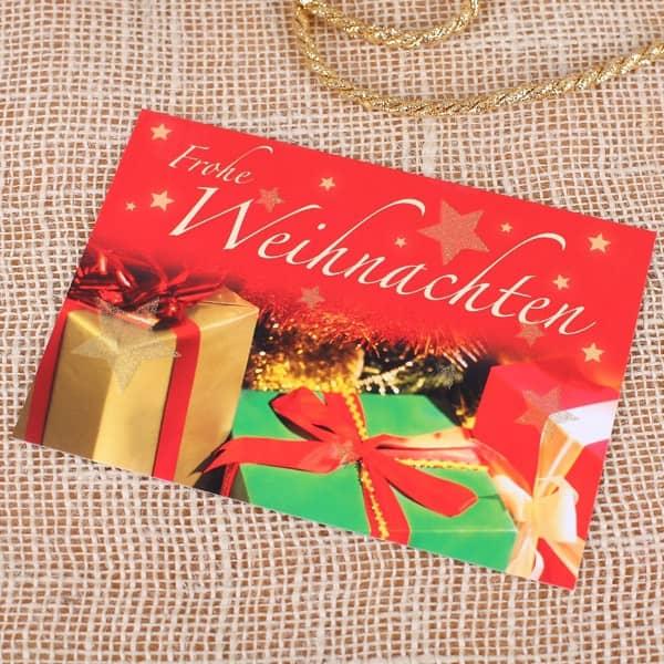 Postkarte - Frohe Weihnachten - mit Glitzereffekt