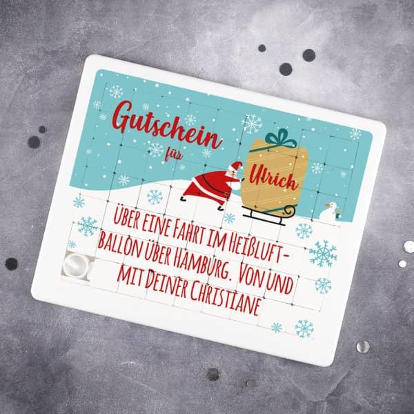 Schiebepuzzle-Gutschein zu Weihnachten mit Name und Wunschtext