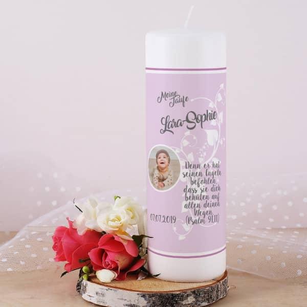 Taufkerze rosa für Mädchen mit Name, Bild, Datum und Taufspruch