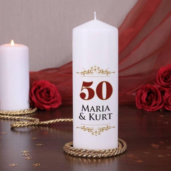 Jubiläumskerze zur Goldenen Hochzeit mit den Namen des Paares