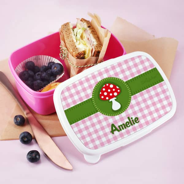 Pinke Brotdose Glückspilz mit Name personalisiert