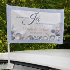 Autofahne zur Hochzeit - JA - Ein kleines Wort, das so viel Glück bedeutet