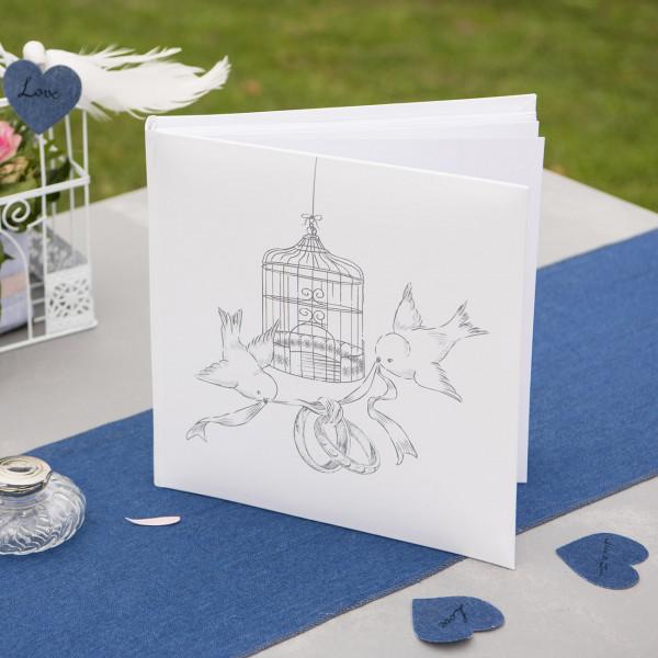 Gästebuch zur Hochzeit in Weiß mit Taubenmotiv
