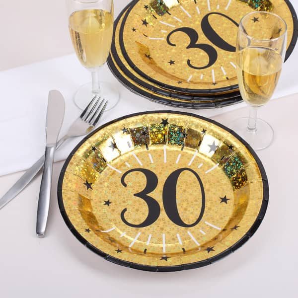 Pappteller in gold zum 30. Geburtstag