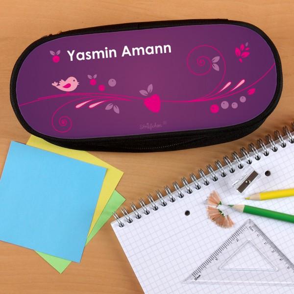 Stiftebox mit floralem Motiv in violett mit Ihrem Namen