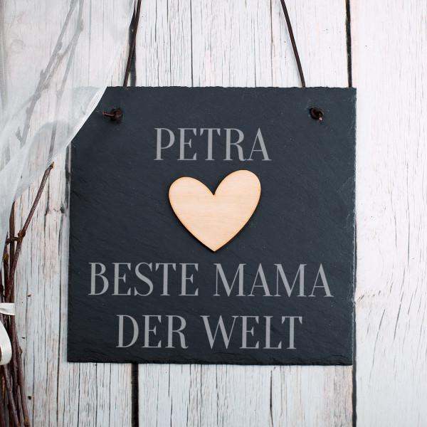 Schiefertafel Beste Mama der Welt mit Holzapplikationen und Name