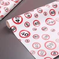 Geschenkpapier zum 40. Geburtstag im Verkehrszeichen-Look