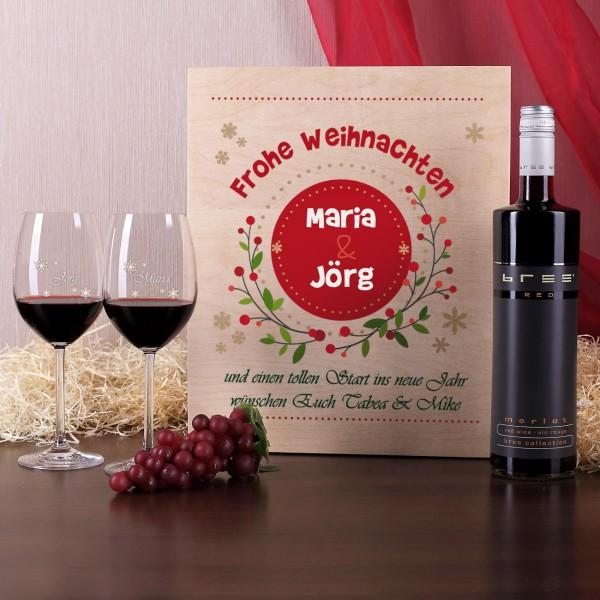 Weinset in Holzbox mit gravierten Gläsern zum Fest